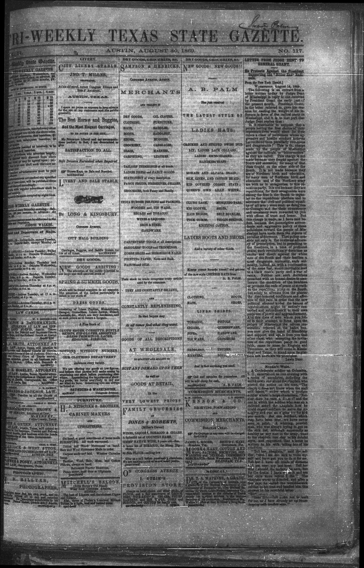 Tri-Weekly Texas State Gazette. (Austin, Tex.), Vol. 2, No. 117, Ed. 1 Monday, August 30, 1869                                                                                                      [Sequence #]: 1 of 4