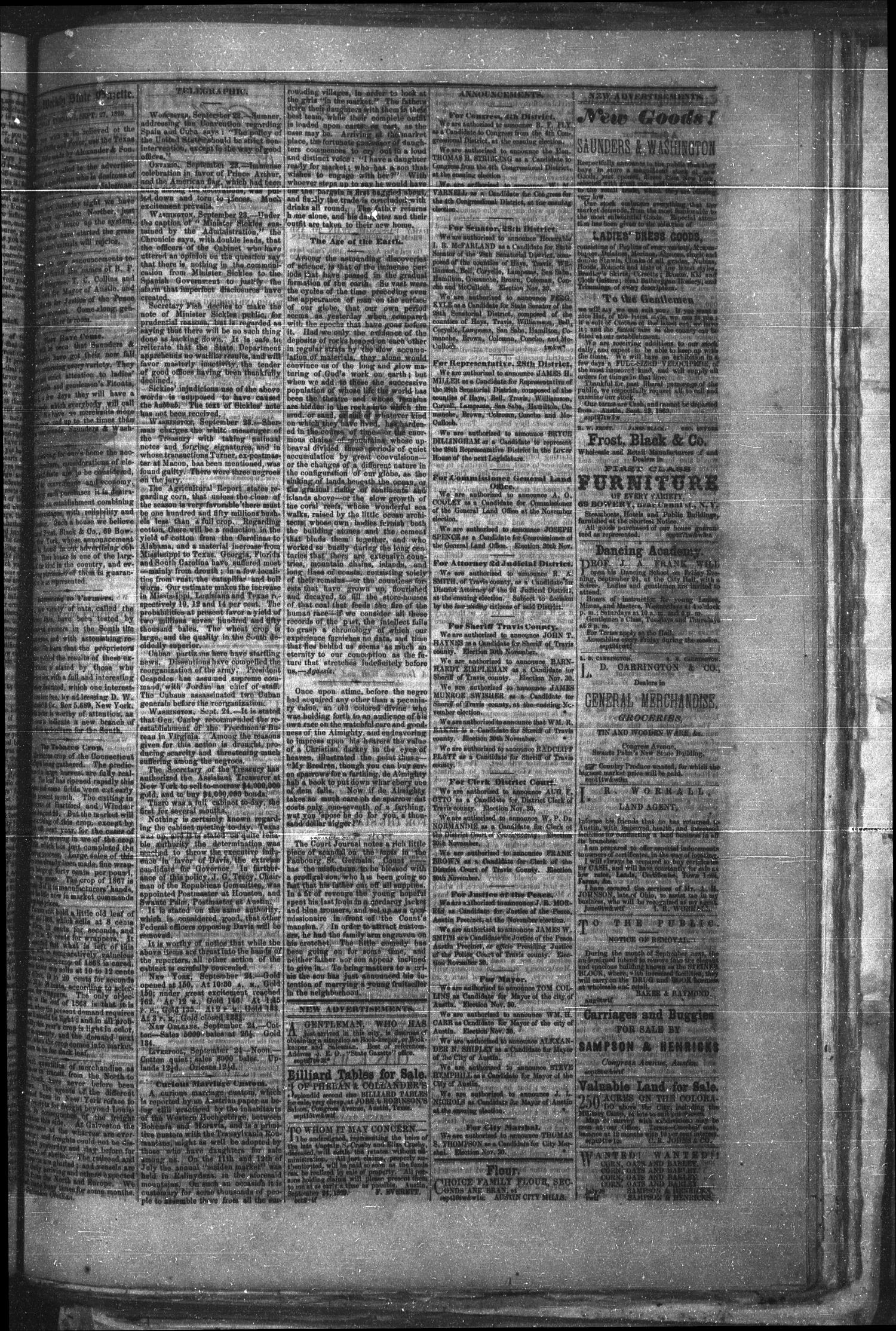 Tri-Weekly Texas State Gazette. (Austin, Tex.), Vol. 2, No. 129, Ed. 1 Monday, September 27, 1869                                                                                                      [Sequence #]: 3 of 4