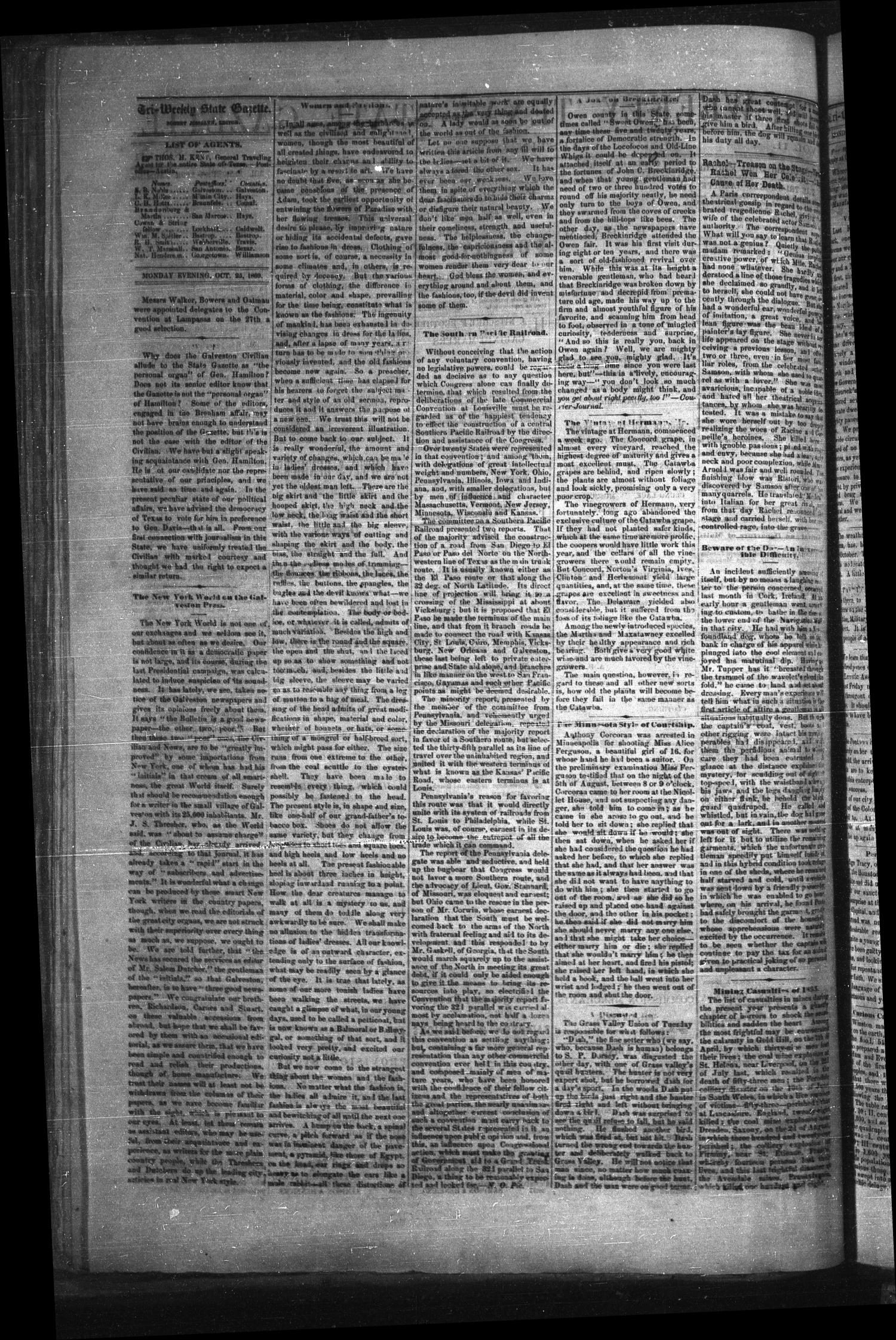 Tri-Weekly Texas State Gazette. (Austin, Tex.), Vol. 2, No. 141, Ed. 1 Monday, October 25, 1869                                                                                                      [Sequence #]: 2 of 4