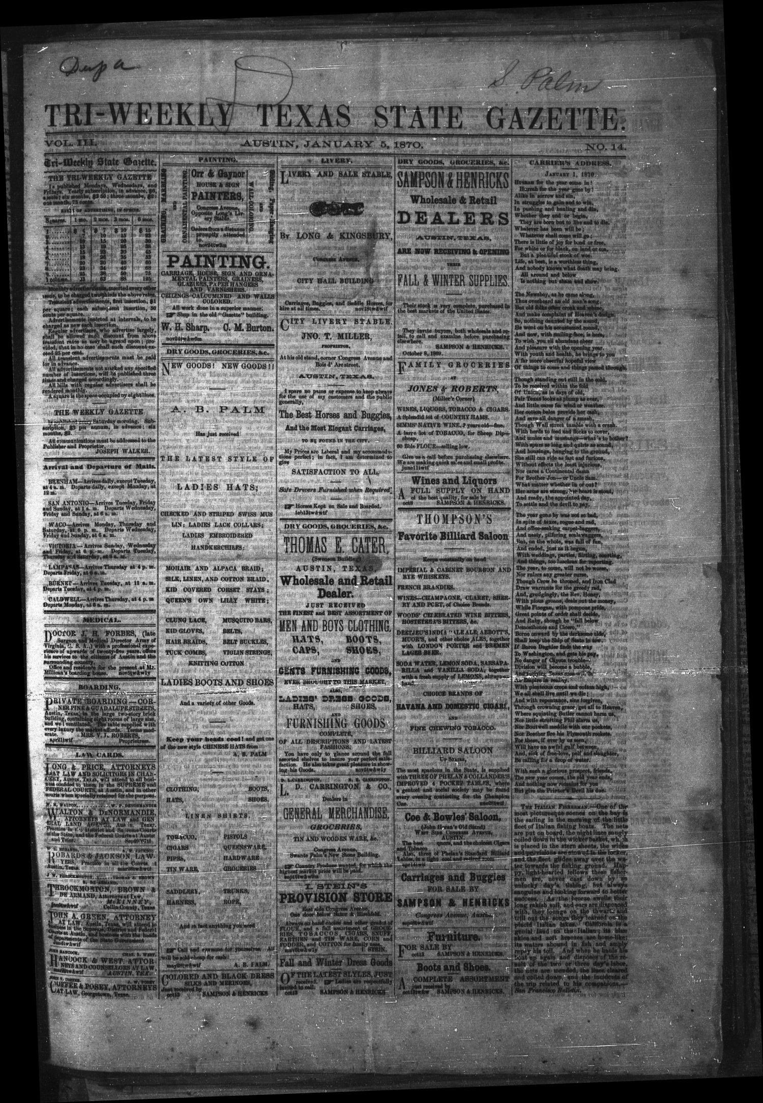 Tri-Weekly Texas State Gazette. (Austin, Tex.), Vol. 3, No. 14, Ed. 1 Wednesday, January 5, 1870                                                                                                      [Sequence #]: 1 of 4