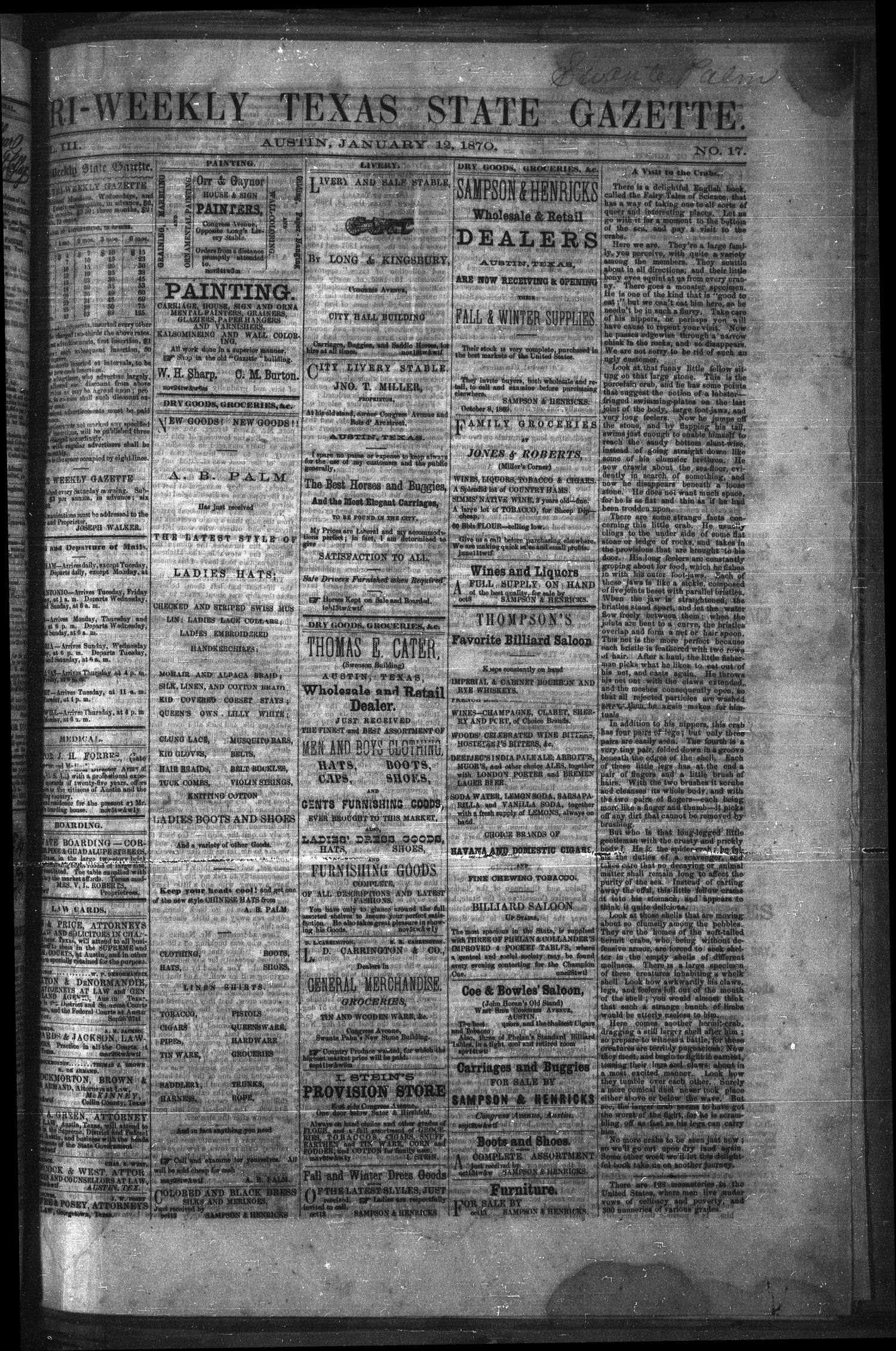 Tri-Weekly Texas State Gazette. (Austin, Tex.), Vol. 3, No. 17, Ed. 1 Wednesday, January 12, 1870                                                                                                      [Sequence #]: 1 of 4