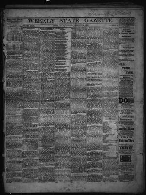 Primary view of object titled 'Weekly State Gazette. (Austin, Tex.), Vol. 29, No. 12, Ed. 1 Saturday, January 26, 1878'.