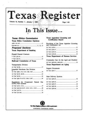 Primary view of object titled 'Texas Register, Volume 18, Number 1, Pages 1-89, January 1, 1993'.