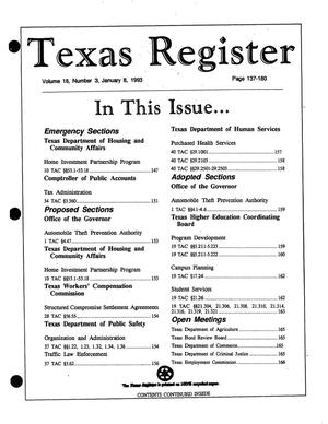 Primary view of object titled 'Texas Register, Volume 18, Number 3, Pages [137-180], January 8, 1993'.