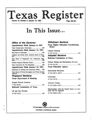 Primary view of object titled 'Texas Register, Volume 18, Number 6, Pages 339-381, January 19, 1993'.