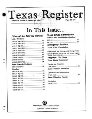 Primary view of object titled 'Texas Register, Volume 18, Number 7, Pages 383-507, January 26, 1993'.