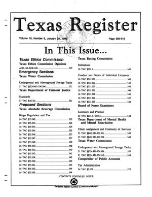 Primary view of object titled 'Texas Register, Volume 18, Number 8, Pages 509-618, January 29, 1993'.