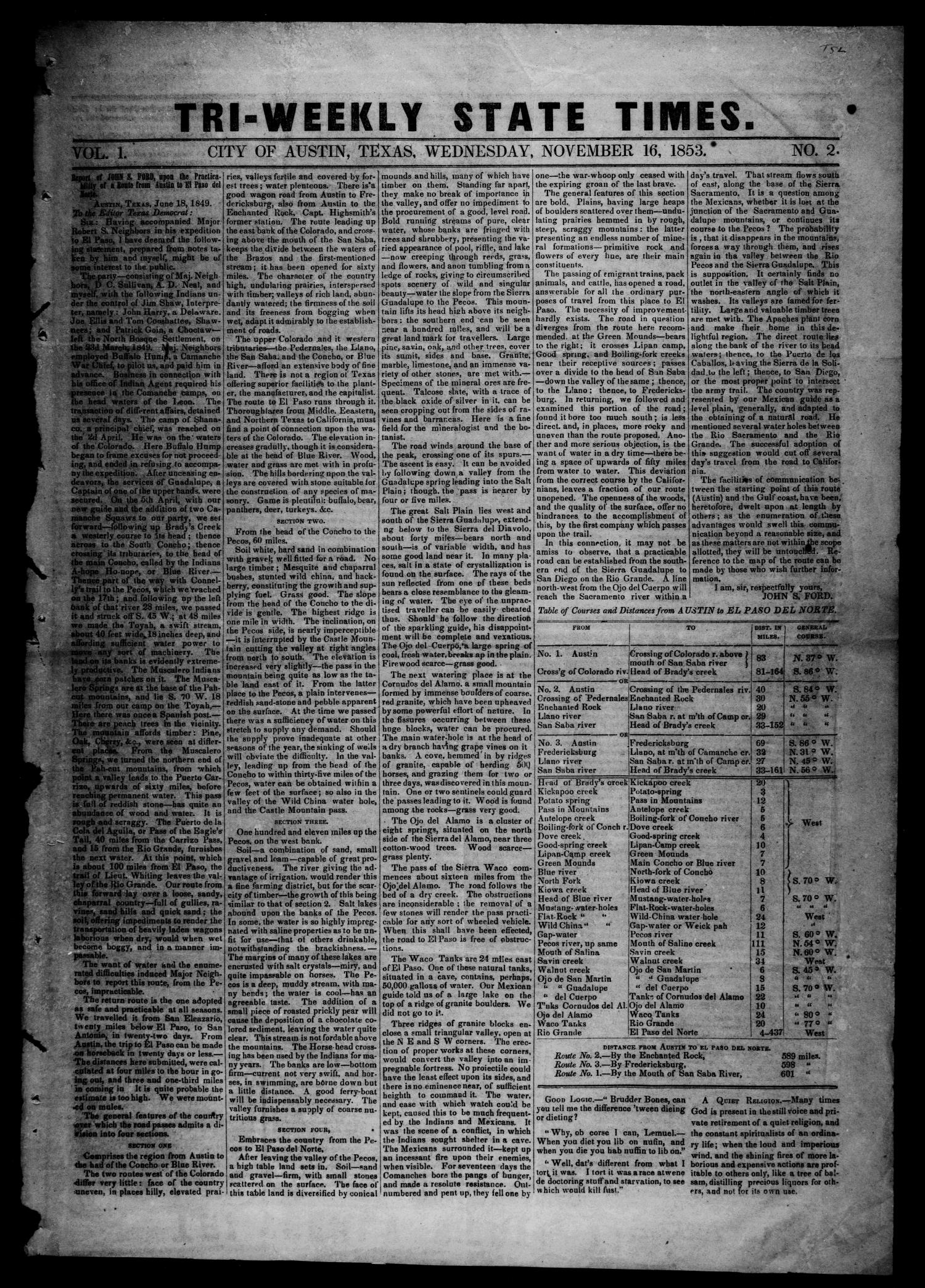 Tri-Weekly State Times. (Austin, Tex.), Vol. 1, No. 2, Ed. 1 Wednesday, November 16, 1853                                                                                                      [Sequence #]: 1 of 4