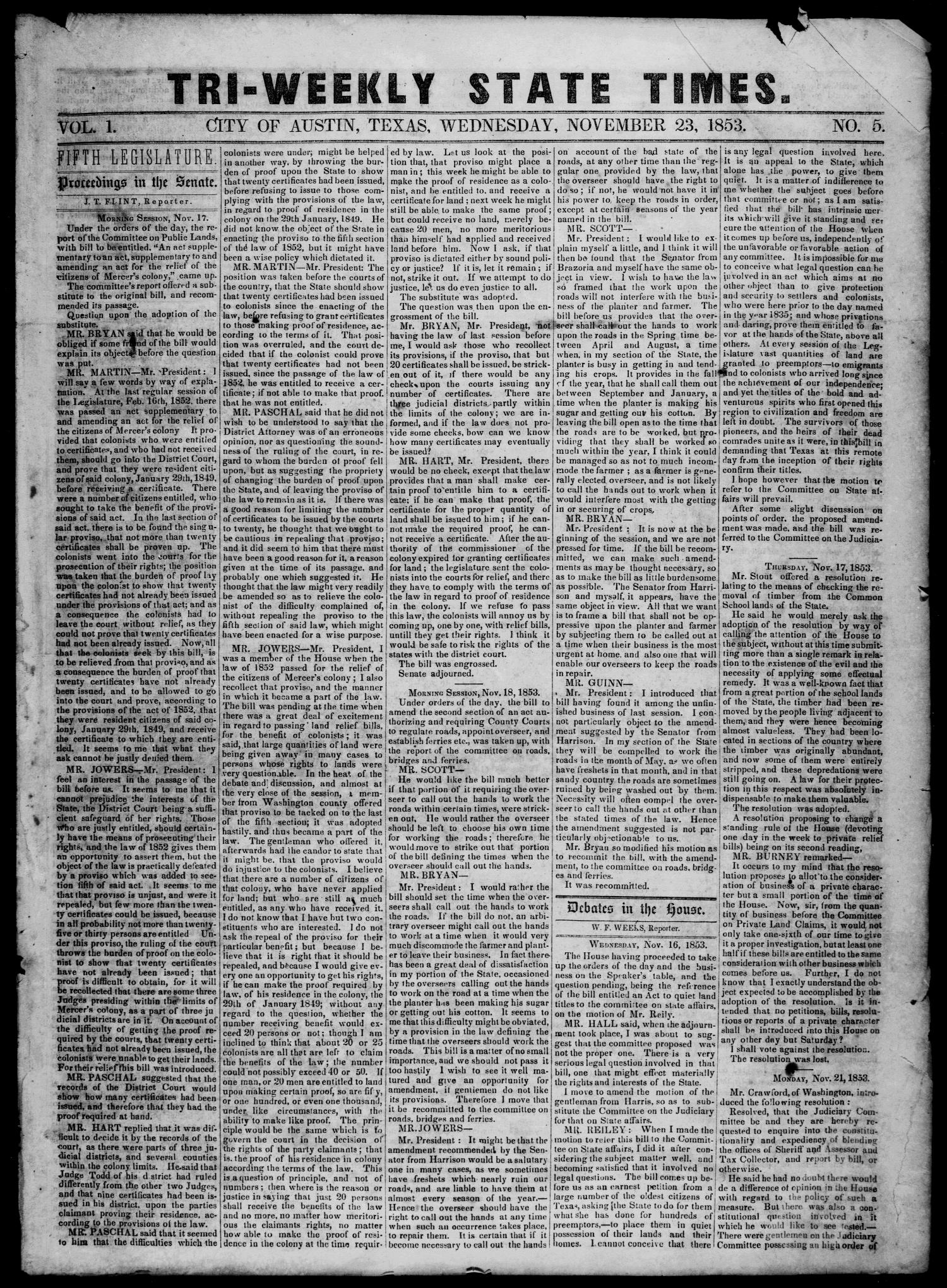 Tri-Weekly State Times. (Austin, Tex.), Vol. 1, No. 5, Ed. 1 Wednesday, November 23, 1853                                                                                                      [Sequence #]: 1 of 4