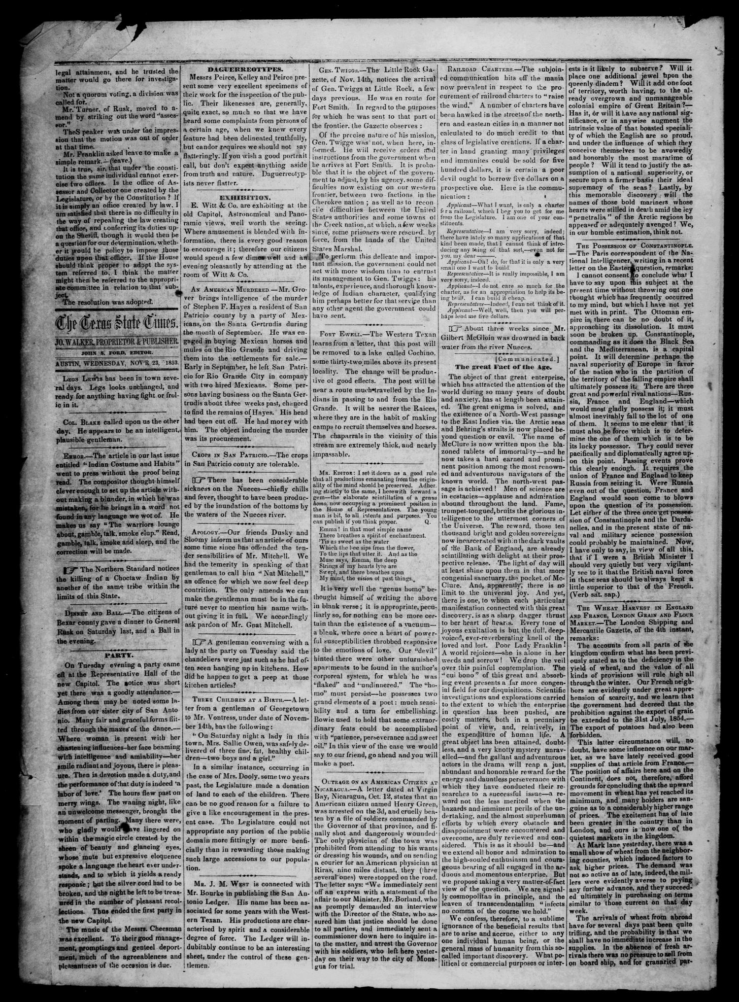 Tri-Weekly State Times. (Austin, Tex.), Vol. 1, No. 5, Ed. 1 Wednesday, November 23, 1853                                                                                                      [Sequence #]: 2 of 4