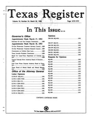 Primary view of object titled 'Texas Register, Volume 18, Number 24, Pages 1879-1972, March 26, 1993'.