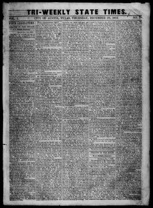 Primary view of object titled 'Tri-Weekly State Times. (Austin, Tex.), Vol. 1, No. 17, Ed. 1 Thursday, December 22, 1853'.