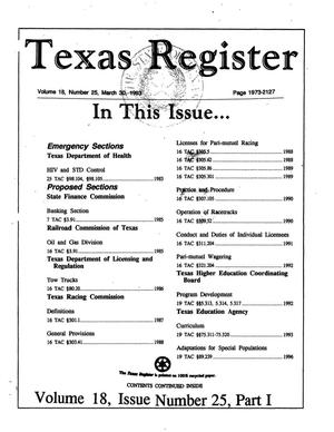 Primary view of object titled 'Texas Register, Volume 18, Number 25, Part I, Pages 1973-2127, March 30, 1993'.