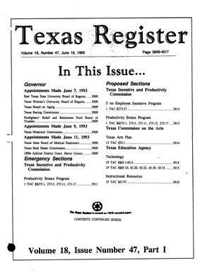 Primary view of object titled 'Texas Register, Volume 18, Number 47, Part I, Pages 3899-4017, June 18, 1993'.