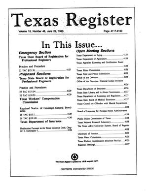 Primary view of object titled 'Texas Register, Volume 18, Number 48, Pages 4117-4150, June 22, 1993'.