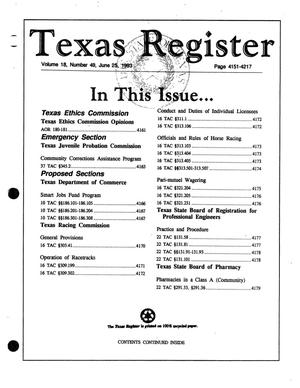 Primary view of object titled 'Texas Register, Volume 18, Number 49, Pages 4151-4217, June 25, 1993'.