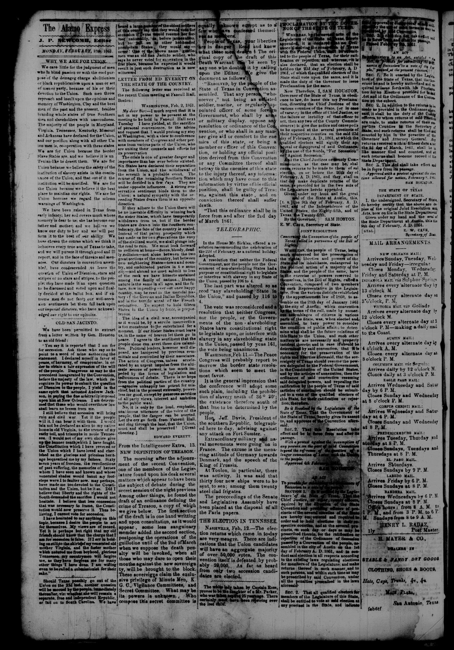 Tri-Weekly Alamo Express. (San Antonio, Tex.), Vol. 1, No. 7, Ed. 1 Monday, February 18, 1861                                                                                                      [Sequence #]: 2 of 4