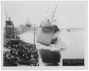 "Primary view of object titled '[Pensacola Ship Building Co. launching the S. S. ""City of Weatherford"" #2]'."