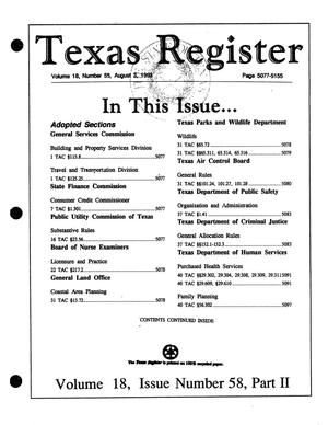 Primary view of object titled 'Texas Register, Volume 18, Number 58, Part II, Pages 5077-5155, August 3, 1993'.