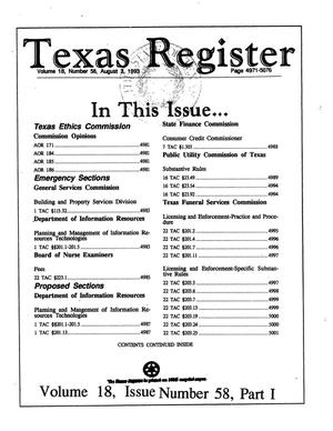 Primary view of object titled 'Texas Register, Volume 18, Number 58, Part I, Pages 4971-5076, August 3, 1993'.