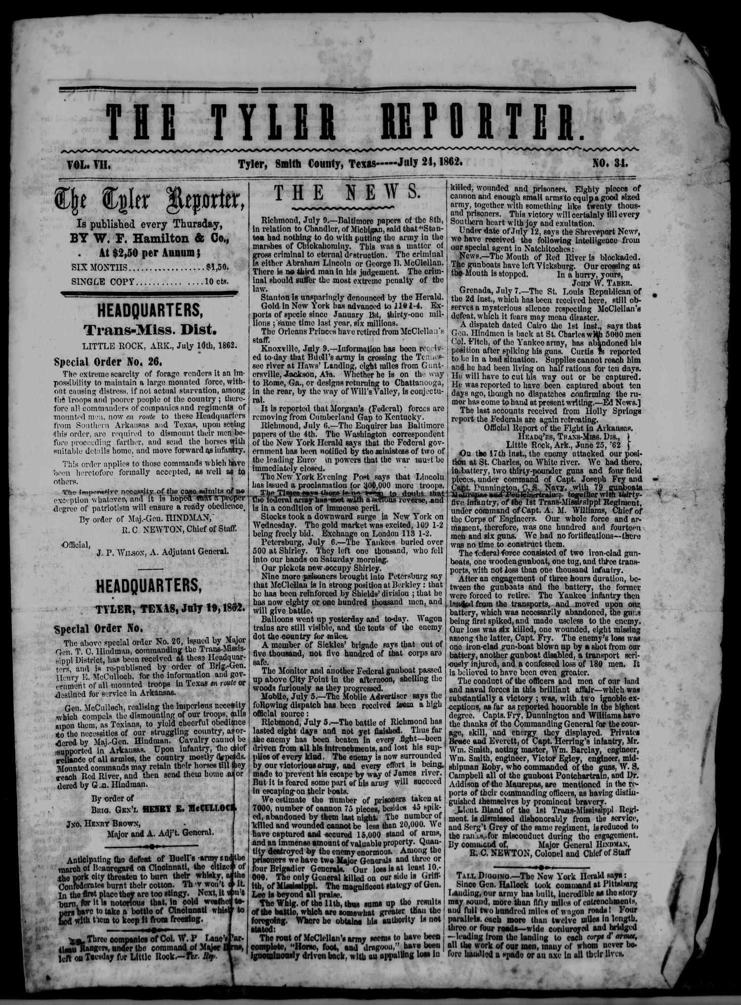 The Tyler Reporter. Weekly. (Tyler, Tex.), Vol. 7, No. 34, Ed. 1 Thursday, July 24, 1862                                                                                                      [Sequence #]: 1 of 4