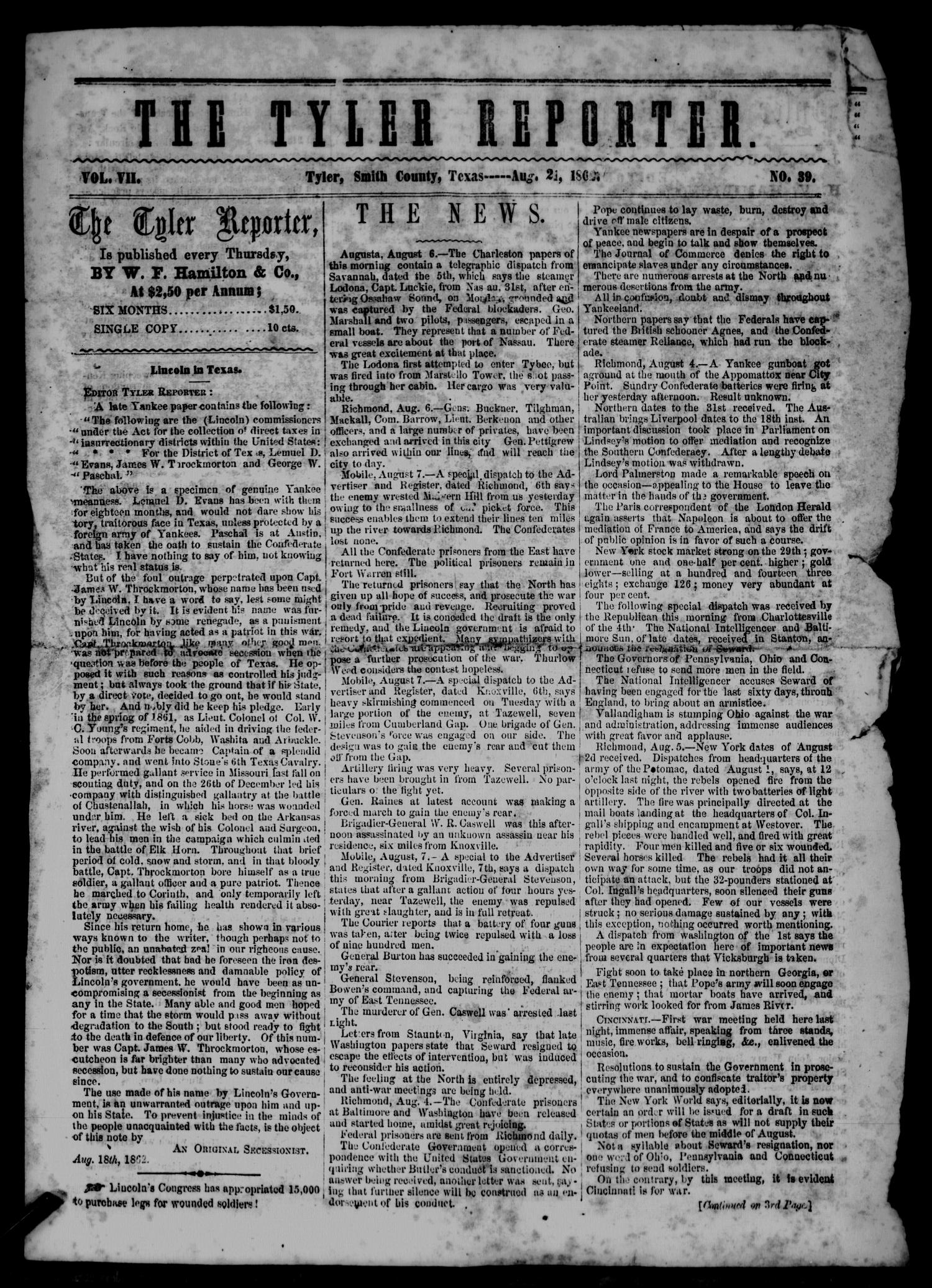 The Tyler Reporter. Weekly. (Tyler, Tex.), Vol. 7, No. 39, Ed. 1 Thursday, August 21, 1862                                                                                                      [Sequence #]: 1 of 4