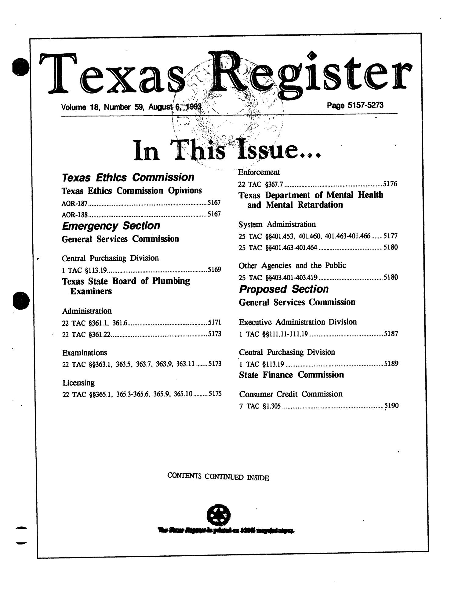 Texas Register Volume 18 Number 59 Pages 5157 5273