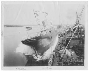 "Primary view of object titled '[Pensacola Ship Building Co. launching the S. S. ""City of Weatherford,"" stern view #2]'."