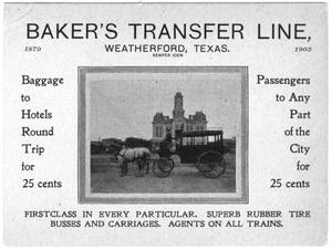Primary view of object titled '[Baker's Transfer Line]'.