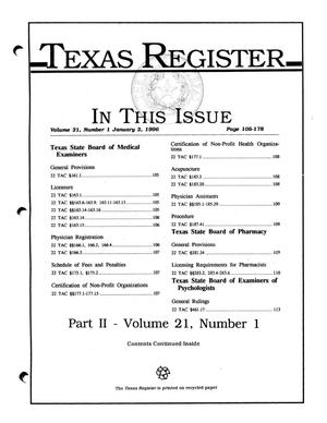 Primary view of object titled 'Texas Register, Volume 21, Number 1, (Part II) Pages 105-178, January 2, 1996'.
