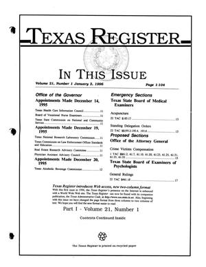 Primary view of object titled 'Texas Register, Volume 21, Number 1, (Part I) Pages 1-104, January 2, 1996'.