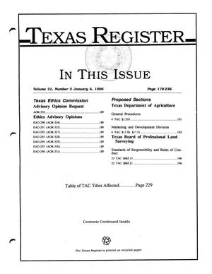 Primary view of object titled 'Texas Register, Volume 21, Number 2, Pages 179-236, January 5, 1996'.
