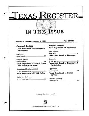 Primary view of object titled 'Texas Register, Volume 21, Number 3, Pages 237-281, January 9, 1996'.