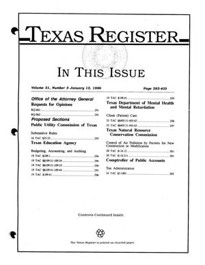 Primary view of object titled 'Texas Register, Volume 21, Number [4], Pages 283-403, January 12, 1996'.