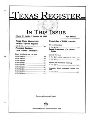 Primary view of object titled 'Texas Register, Volume 21, Number 7, Pages 557-634, January 23, 1996'.