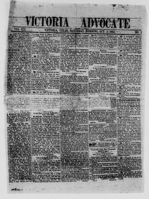 Primary view of object titled 'Victoria Advocate (Victoria, Tex.), Vol. 19, No. 1, Ed. 1 Saturday, October 1, 1864'.
