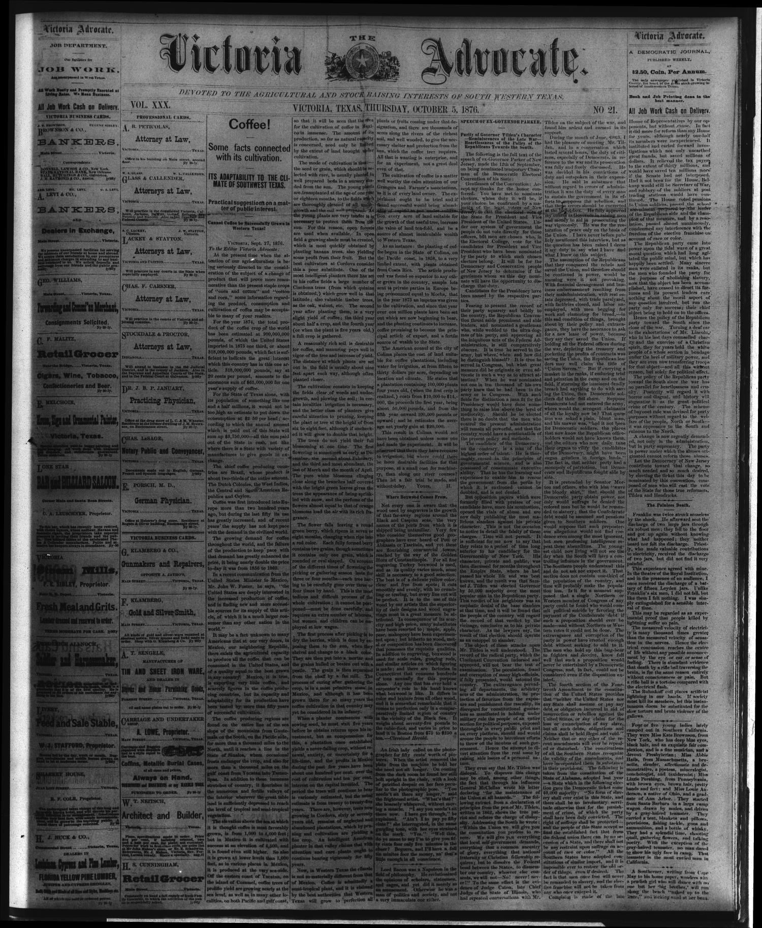 The Victoria Advocate. (Victoria, Tex.), Vol. 30, No. 21, Ed. 1 Thursday, October 5, 1876                                                                                                      [Sequence #]: 1 of 4