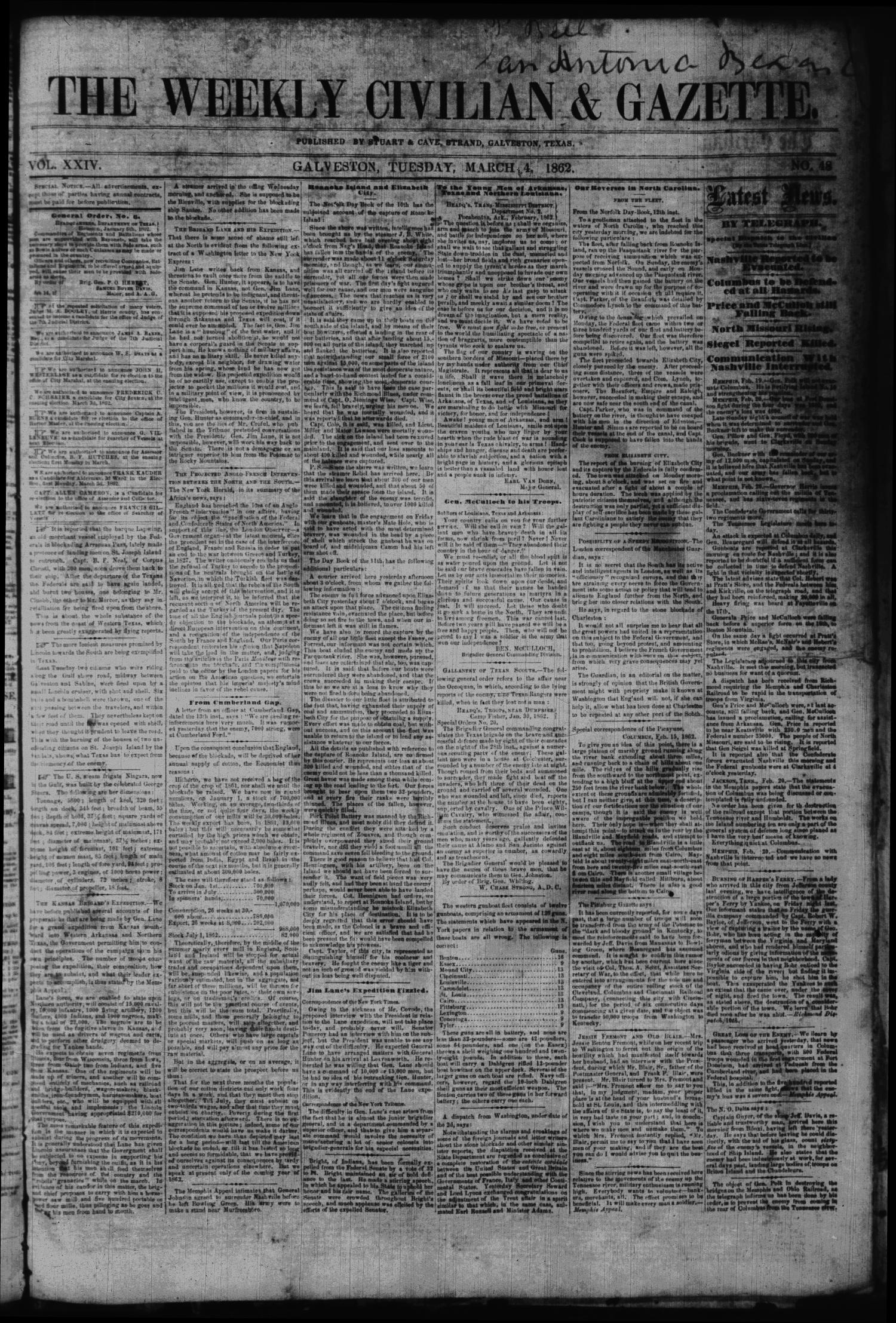 The Weekly Civilian & Gazette. (Galveston, Tex.), Vol. 24, No. 48, Ed. 1 Tuesday, March 4, 1862                                                                                                      [Sequence #]: 1 of 4