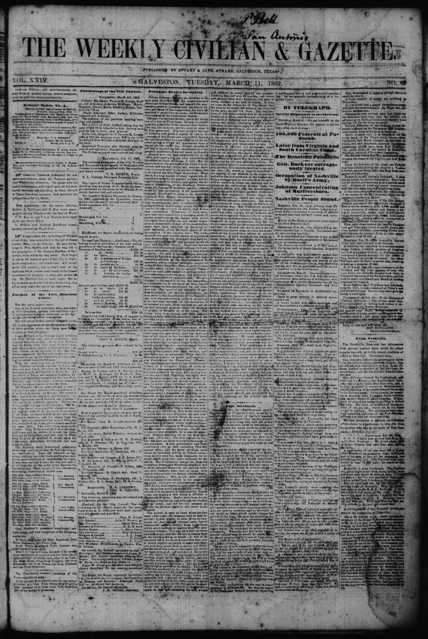 The Weekly Civilian & Gazette. (Galveston, Tex.), Vol. 24, No. 49, Ed. 1 Tuesday, March 11, 1862                                                                                                      [Sequence #]: 1 of 4