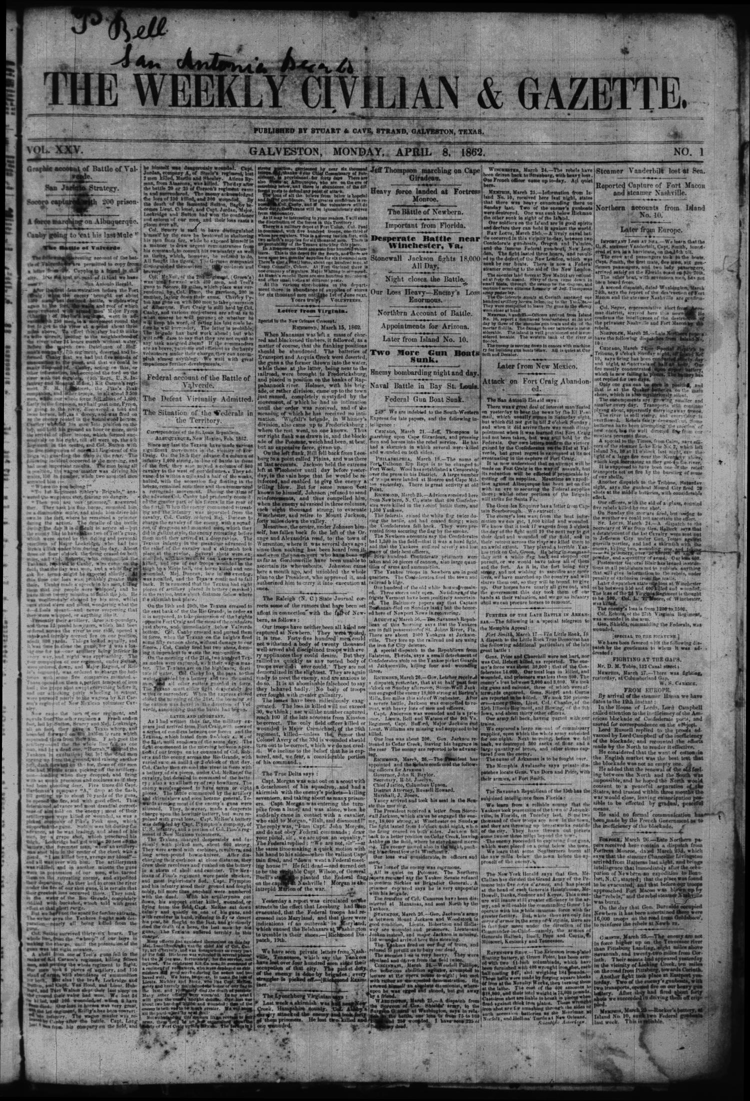 The Weekly Civilian & Gazette. (Galveston, Tex.), Vol. 25, No. 1, Ed. 1 Tuesday, April 8, 1862                                                                                                      [Sequence #]: 1 of 4