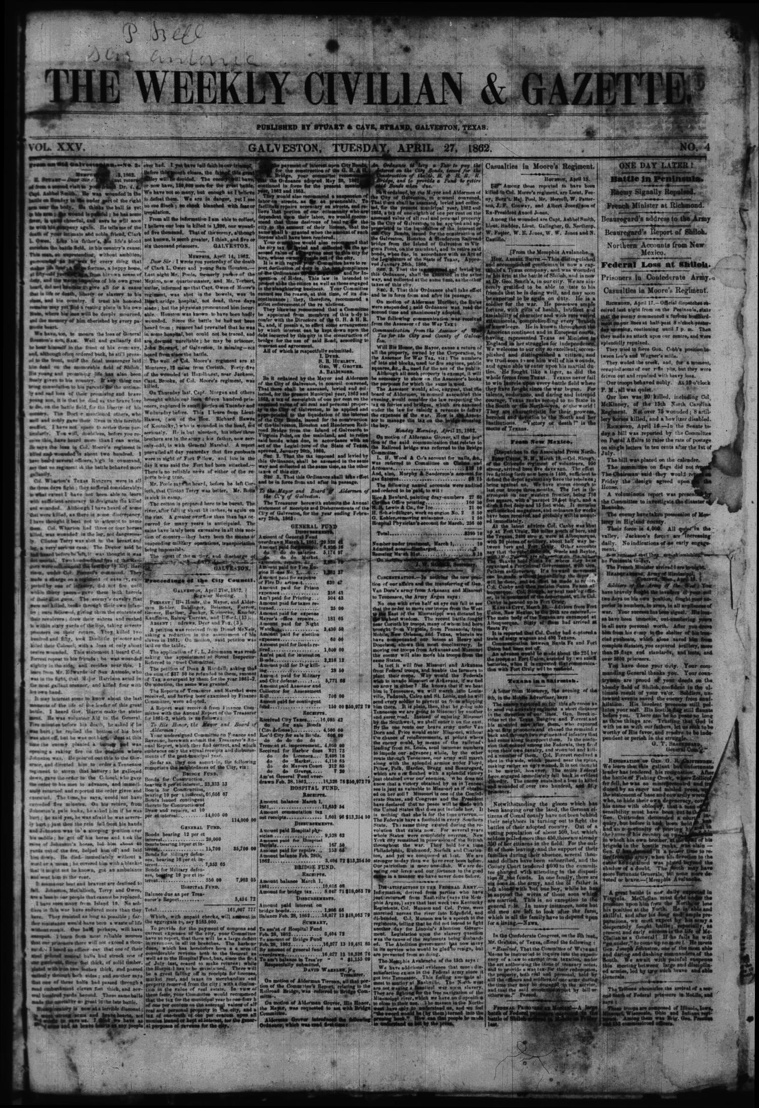 The Weekly Civilian & Gazette. (Galveston, Tex.), Vol. 25, No. 4, Ed. 1 Sunday, April 27, 1862                                                                                                      [Sequence #]: 1 of 4