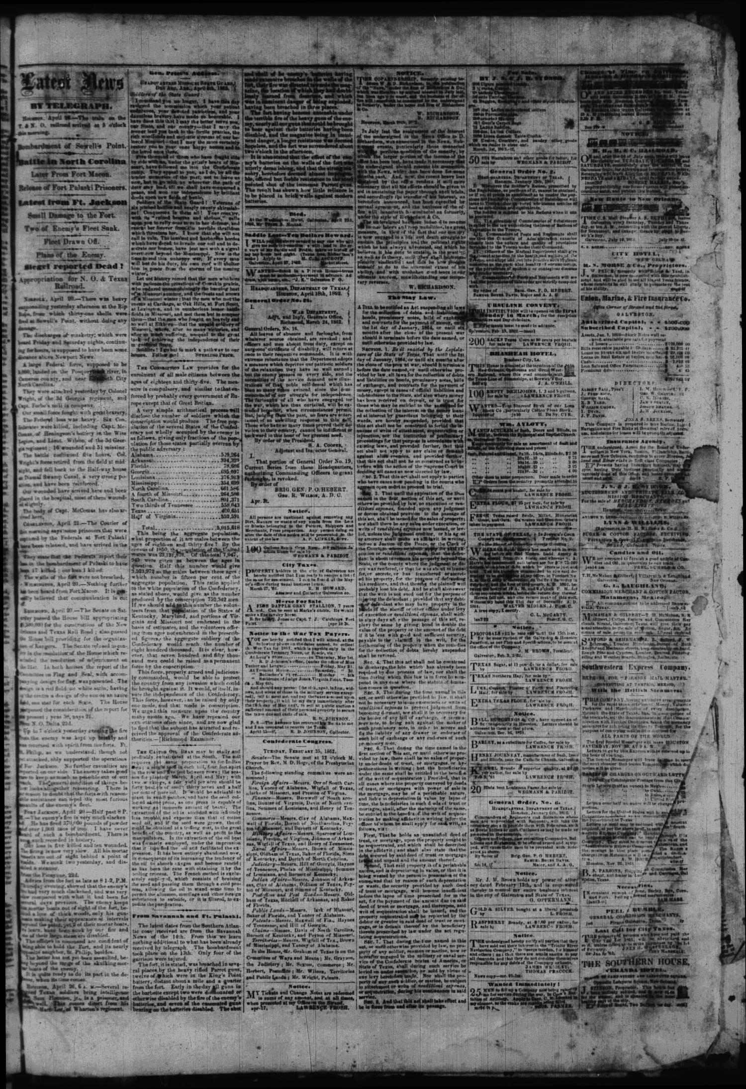 The Weekly Civilian & Gazette. (Galveston, Tex.), Vol. 25, No. 4, Ed. 1 Sunday, April 27, 1862                                                                                                      [Sequence #]: 3 of 4