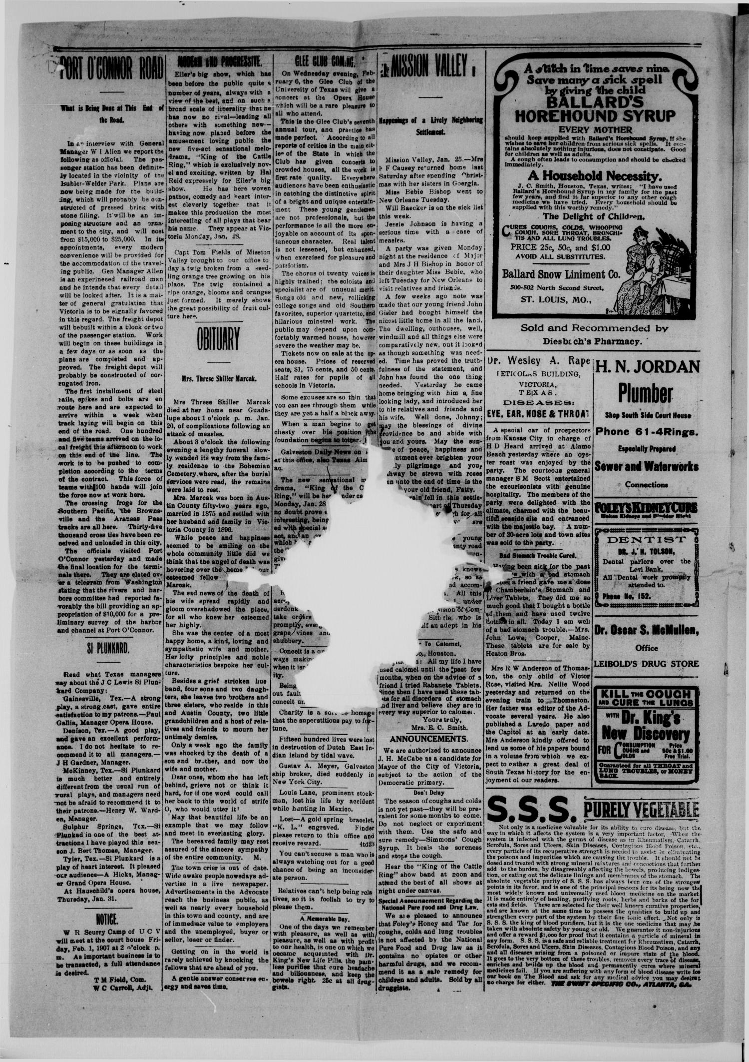 The Weekly Advocate. (Victoria, Tex.), Vol. 61, No. 38, Ed. 1 Saturday, January 26, 1907                                                                                                      [Sequence #]: 4 of 8