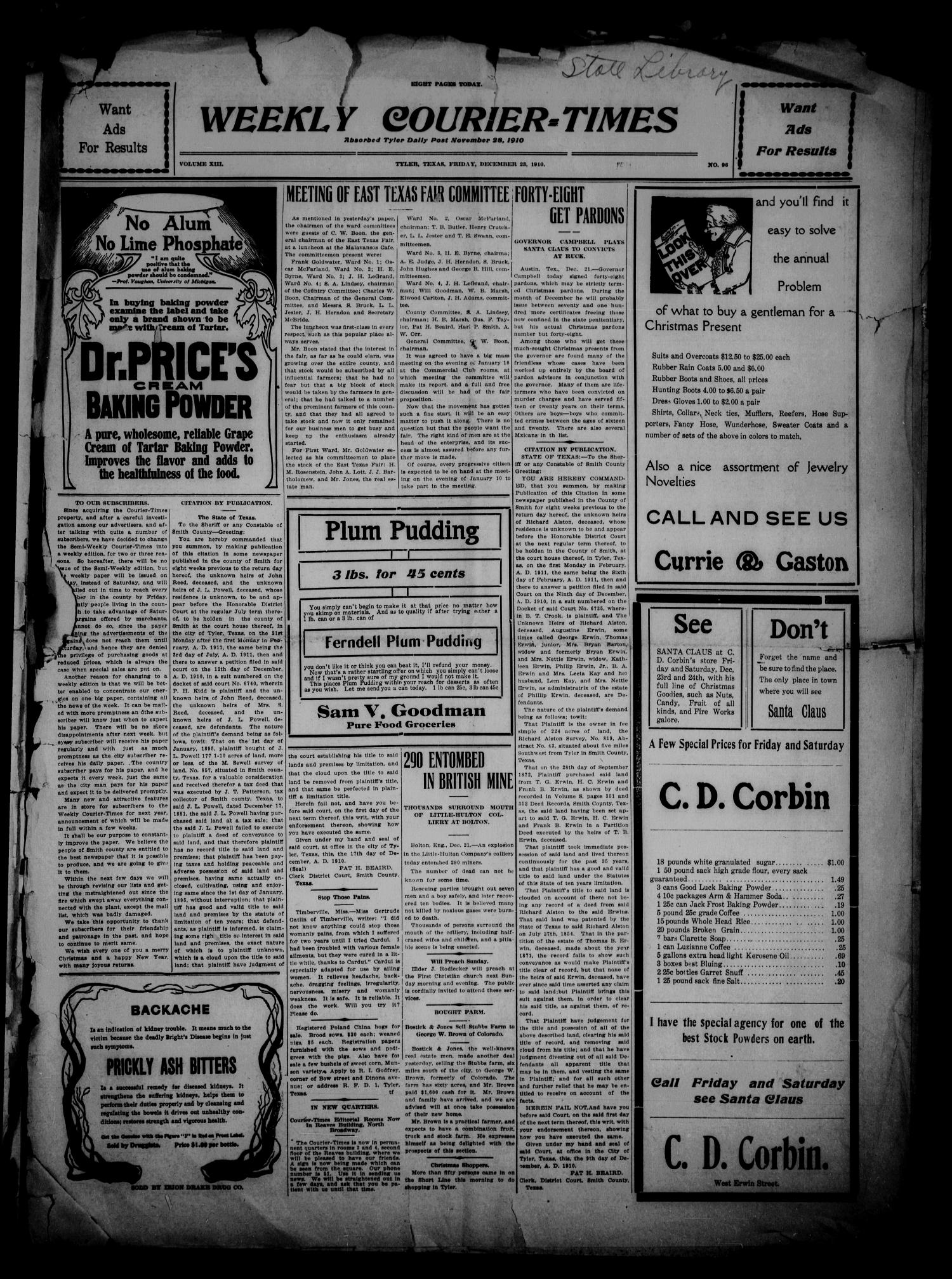 Weekly Courier-Times. (Tyler, Tex.), Vol. 13, No. 96, Ed. 1 Friday, December 23, 1910                                                                                                      [Sequence #]: 1 of 6