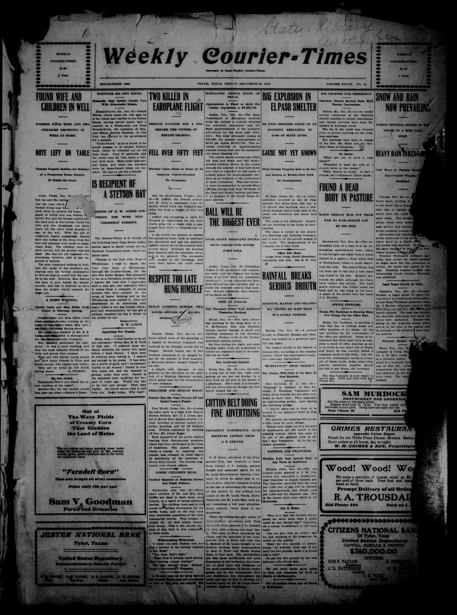 Weekly Courier-Times. (Tyler, Tex.), Vol. 28, No. 52, Ed. 1 Friday, December 30, 1910                                                                                                      [Sequence #]: 1 of 6
