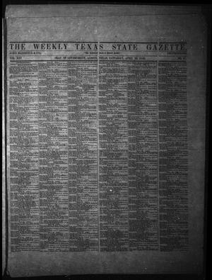 Primary view of object titled 'The Weekly Texas State Gazette. (Austin, Tex.), Vol. 13, No. 37, Ed. 1 Saturday, April 19, 1862'.