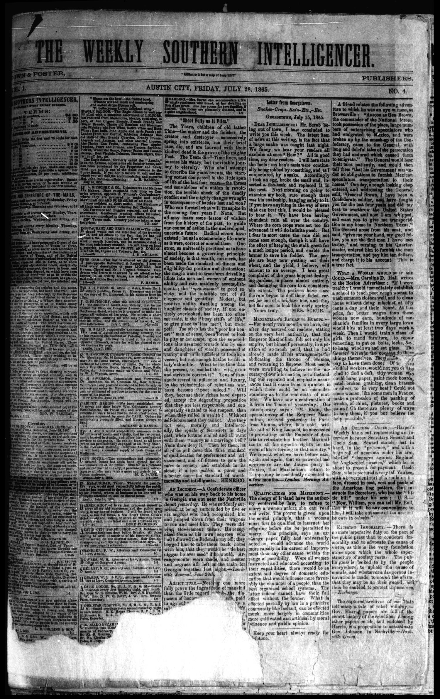 The Weekly Southern Intelligencer. (Austin City, Tex.), Vol. 1, No. 4, Ed. 1 Friday, July 28, 1865                                                                                                      [Sequence #]: 1 of 4