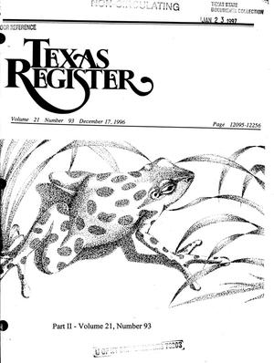 Primary view of object titled 'Texas Register, Volume 21, Number 93, Part II, Pages 12095-12256, December 17, 1996'.