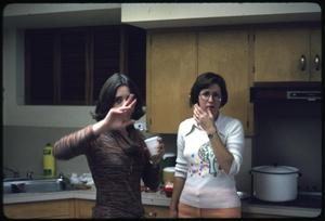 Primary view of object titled '[Two Women Stand in a Kitchen at a Library Party]'.