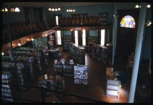 Primary view of object titled '[View Down into Interior of the Dr. Eugene Clark Library]'.